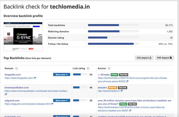 Seobility Free domain backlink checker